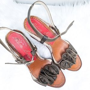 PALOMA BARCELO Brown Floral Strap Wedges size 9